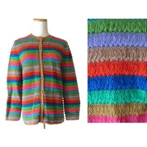 Vintage Rainbow Knit Cardigan Sweater